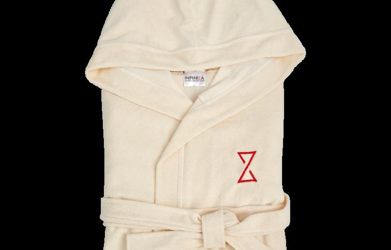 Krém színű női kapucnis köntös rövid fazon