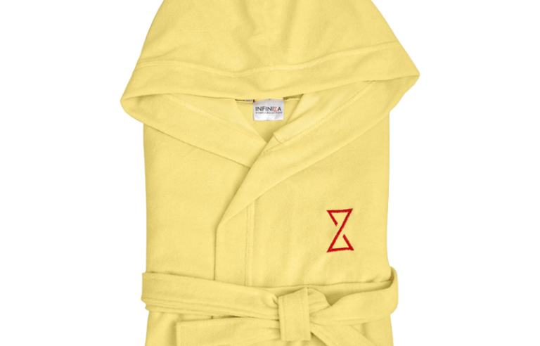 Sárga kapucnis női köntös rövid fazon